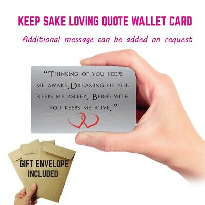 Thinking Of You Keepsake Gift Wallet Card Anniversary Ioving Gift • 2.99£