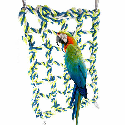 Parrot Net Pet Bird Swing Hanging Hammock Perch Toys Hamster Rope Ladder Cage • 5.79£
