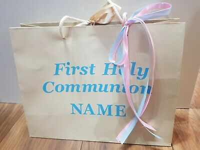 First Holy Communion Gift Bag Personalised Choice Of Colour • 4.50£
