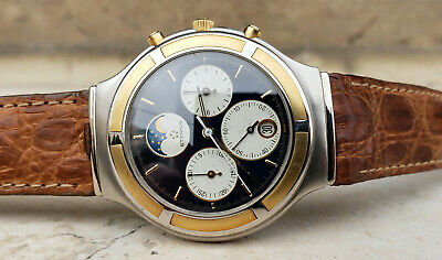 Eterna Airforce Chronograph Moonphase Quartz Gold & Steel Mens Watch • 644.01£