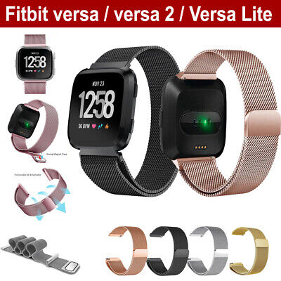 AU10.49 • Buy For Fitbit Versa 2 Lite Band Stainless Steel Metal Milanese Loop Wristband Strap
