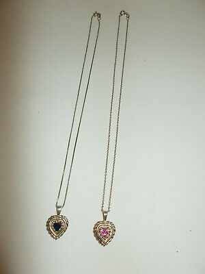 $ CDN21.56 • Buy Lot Of 2 Sterling Heart Pendants With Sterling Chains, Pink & Blue Cz Lot Of 2
