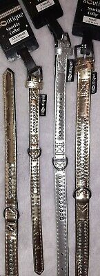 Pets At Home Gold Silver Metallic DIAMANTE Dog Collar Xxs  Xs SMALL Faux Leather • 6.99£