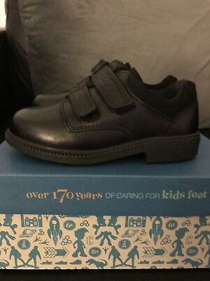 NEW IN BOX BOYS Clarks Deaton Black Leather SCHOOL Shoes UK INFANT 8H • 12£