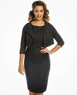 Lindy Bop Maybelle Black Jacquard Two Piece Suit - Dress And Jacket 14 BNWT • 50£
