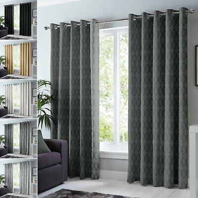 Insulated Heavy Thick Thermal Blackout Curtains Eyelet Ring Top Pair + Tie Backs • 28.99£
