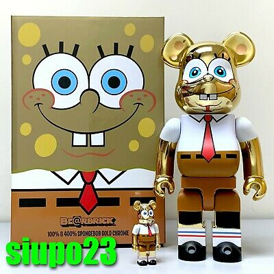 $379.99 • Buy Medicom 400% + 100% Bearbrick ~ SpongeBob Be@rbrick GOLD CHROME Ver
