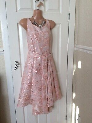 Coast High Low Blush/silver Dress Size 12 New With Tags Hol 19/5 To 29/5 • 36.99£
