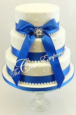 £15.99 • Buy Wedding Cake Pearl Brooch With Ribbon & Pearls Blues & Purples Cake Topper Set