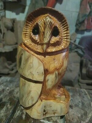 Sussex Chainsaw Carving Yew Owl Great Gift Idea Wooden Garden Or Home Sculpture • 50£