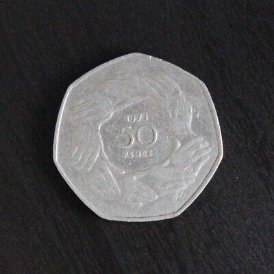 1973 Clasped Hands Old Large 50p Commemorative Coin European Membership EEA EU • 2.49£