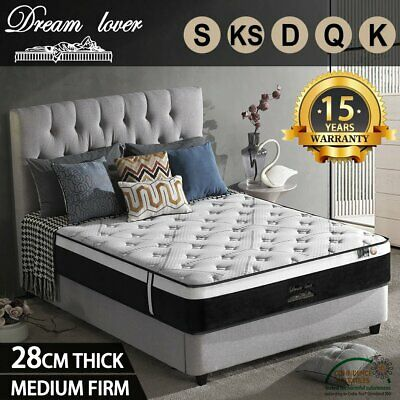 AU219 • Buy Bedding QUEEN DOUBLE KING Bed Mattress Pocket Spring 28CM EURO TOP Mattress