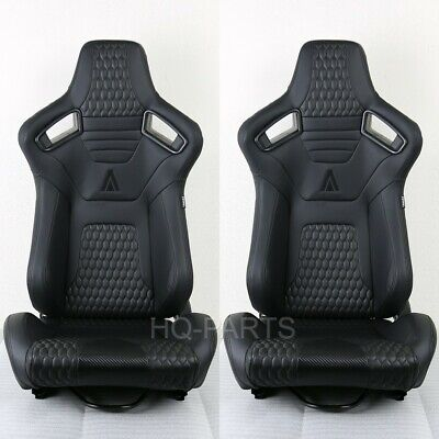 $319.99 • Buy 2 X Tanaka Premium Black Carbon Pvc Leather Racing Seats Reclinable Fits Mustang