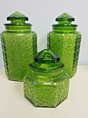 $60 • Buy Vintage L. E. Smith Green Glass Daisy And Button Canister Set 3 Jars & Lids