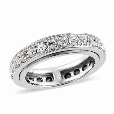 $15.99 • Buy Platinum Plated Made With Swarovski White Crystal Spinner Ring Size 9 Ct 2.5