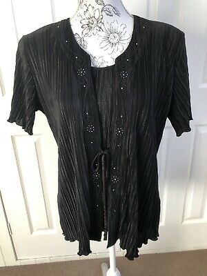 £8.50 • Buy Forever By Michael Gold Black Pleated Mock 2 Piece Top (L)  VGC Embellishments