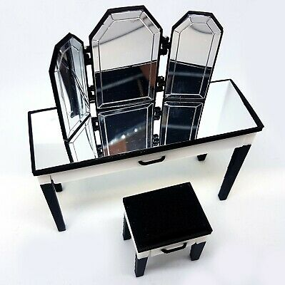 Dolls House 1/12 Scale B+W Mirrored Dressing Table, Stool And Mirror BUSHBABY • 17.90£