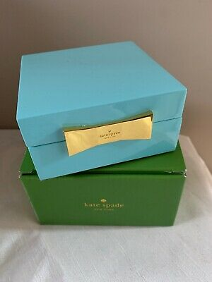 $ CDN37.60 • Buy Kate Spade GARDEN DRIVE Square Jewelry Box Turquoise Lacquer New Boxed
