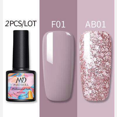 2 Bottles/Set 8ml MAD DOLL Glitter UV Gel Nail Polish Soak Off Nail Art Varnish • 4.89£