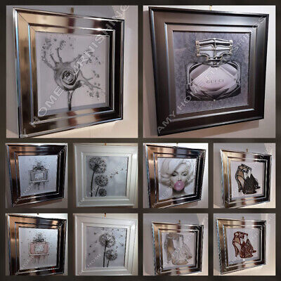 Marilyn Monroe/perfume/flower/heels Pictures Crystals,white/2 Tone/chrome Frames • 229.99£