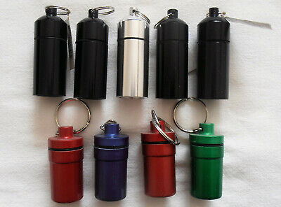$14 • Buy Large Keychain Pill Holder  9 Pcs Waterproof Aluminum & Plastic Pill Containers
