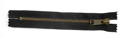 YKK METAL ZIPS, CLOSED END. BLACK DAL 1. VARIOUS SIZES IN INCHES. Zipper Size  7 • 3.65£
