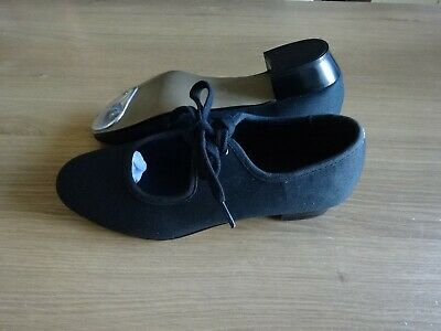 Black Canvas Tap Dance Shoes  Girls/ladies Uk Size 5 - But Are A Small Fit • 7.99£