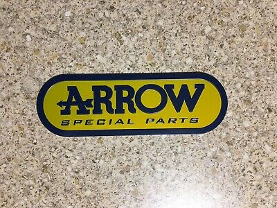 ARROW Small Yellow Aluminium Heat Resistant Sticker Badge 3D Decal Mx Exhaust • 3.69£