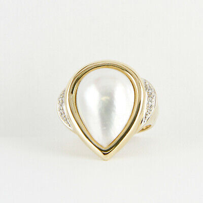 $690 • Buy Vintage Ladies´ Ring (14kt Gold) With Mabe Pearl