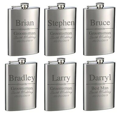 £31.11 • Buy Personalized 8oz Stainless Steel Groomsman Gift Flasks For Weddings
