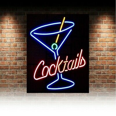 £4.73 • Buy Wall Sign Metal  PLAQUE Neon Cocktails KITCHEN Bar Cafe RETRO DECOR Man Cave