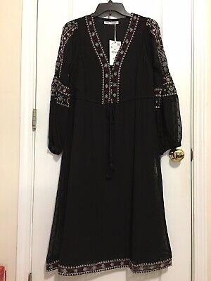 $39.99 • Buy NWT ZARA LONG MIDI FLORAL EMBROIDERY DRESS IN BLACK Size S, L  Retail $69