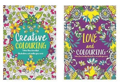 A4 Adult Colouring Books Colour Therapy Patterns  Set Of 2 Anti-Stress  Books • 3.29£