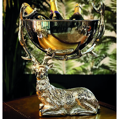£359 • Buy Silver Stag Champagne Cooler Bath Ice Bucket Restaurants Boutique Hotel Bar
