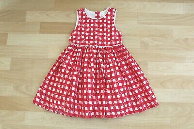 Girls Red & White Check Star Dress Age 3 Years • 2£