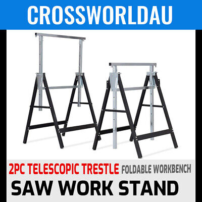 AU94.99 • Buy 2x Telescopic Saw Horse Metal Folding Trestle Work Bench Stand Adjustable Height