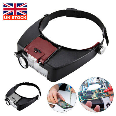 Led Head Magnifying Glasses Headset With Light Hands Free Headband Magnifier UK • 6.99£