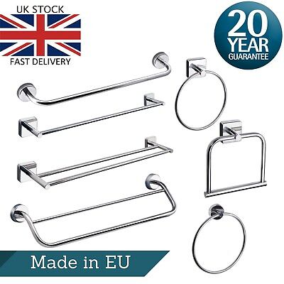 £14.99 • Buy Towel Rail & Ring Wall Mounted Stainless Steel Double Single Square Round Bath