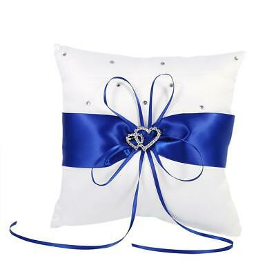Wedding Ring Bearer Holder Pillow Cushion With Bowknot Stain Dual Hearts Diamond • 4.99£