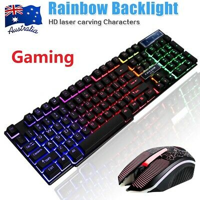 AU26.89 • Buy Pro Gaming Keyboard And Mouse Set Rainbow LED Wired USB For PC Xbox One 360