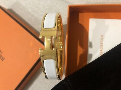 AU850 • Buy Hermes H Clic Clac Bangle - Gold / White Enamel With Original Box And Pouch