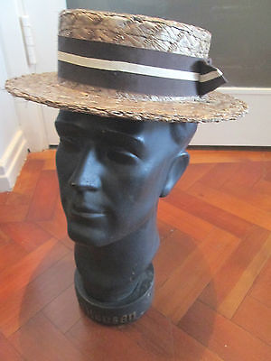 £44.99 • Buy Vintage English Boater Hat By Olney Headwear England