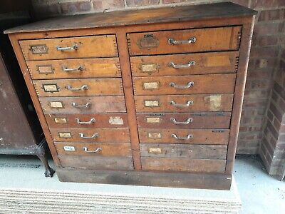 Vintage Engineers Cabinet Wooden Tool Box Chest Cupboard Toolmakers Collectors  • 120£