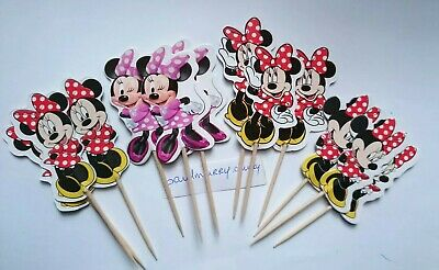 £2.75 • Buy 12 X Minnie Mouse Cake Picks Cupcake Toppers / Flags Birthday Party Decorations