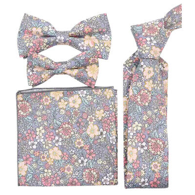 £18 • Buy Pink & Yellow Floral Cotton Bow Tie, Skinny Tie, Boys Bow Tie, Pocket Square Set
