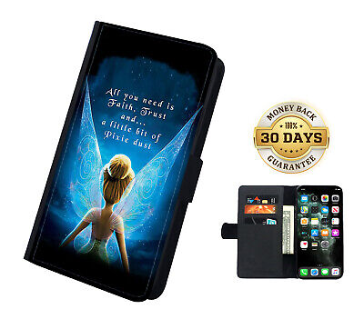 AU16.99 • Buy Disney Tinkerbell Flip Leather Case Cover For IPhone Samsung And Huawei
