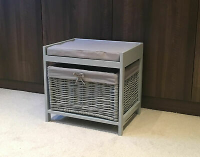 Grey Storage Unit Stool Wicker Rattan Drawer Basket Shabby Chic Cushion Seat • 54.95£