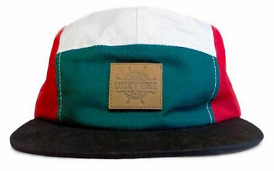 5 Panel Cap, Burgundy - Grey - Green, One Size Fits All  • 10£