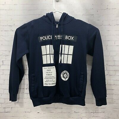 $20.19 • Buy Doctor Who Ripple Junction Blue Police Box Sweater Zip Hoodie Men S Small