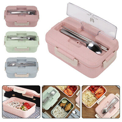 3 Compartments Lunch Box For Kids Adults Food Container Set Bento Storage Boxes • 6.59£